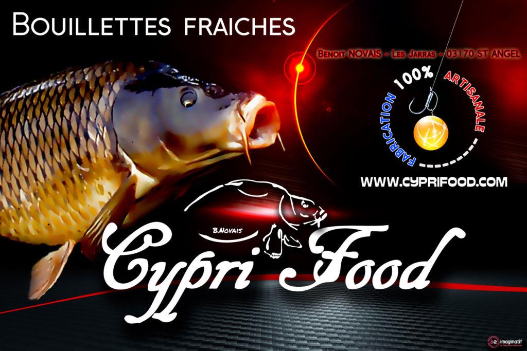 Création graphique pour la réalisation d'un bâche pour une utilisation en salon, mais aussi d'étiquettes pour des produits de la marque Cypri Food